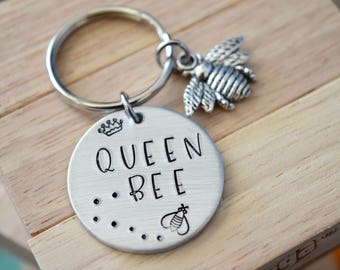 "Queen Bee~updated~Aluminum LIGHT WEIGHT~ 1.125"" Key Chain"