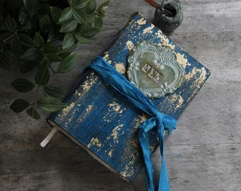 Teal and gold Wedding guest book, scrapbook photo album, vintage weddings. Made To Order 8.5x6'' FREE SHIPPING