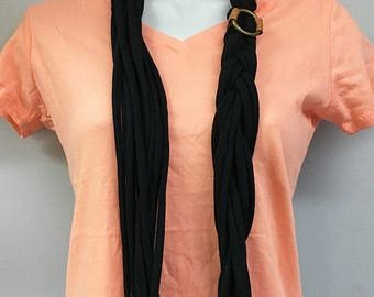 Black Infinity T-Shirt Scarf - 12 Strands/Strip, Loosely Braided with Metal and Genuine Leather Detail - Upcycled - Repurposed