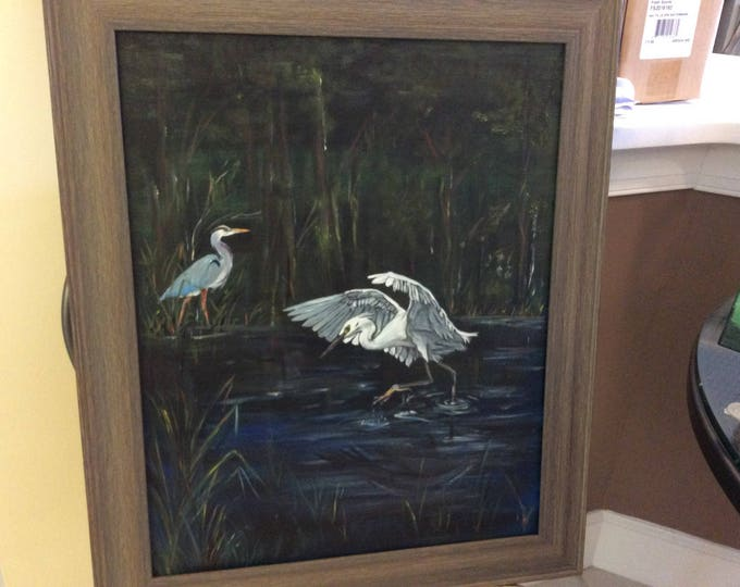 """Birds on the Water - 14"""" x 20"""" acrylic painting in 18"""" x 24"""" frame"""