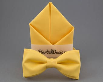 Yellow Bow Tie Yellow Pocket Square Yellow Matching Set Bow Tie Handkerchief Bow Tie for Men Gift for Men Yellow Wedding Men in Yellow
