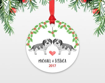 Personalized Christmas Ornaments St Bernard Dog Couple Engaged Christmas Ornament Engagement Ornament Wedding Ornament Christmas Decoration