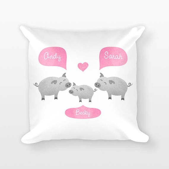 Pig Nursery Pillow, Personalized Baby Gift, Baby Shower Gift, Farm Nursery Decor, Pillow for Kids Room Decor, Animal Nursery Throw Pillow