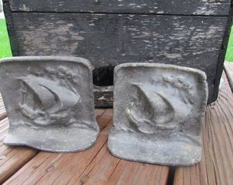 Iron Ship Bookends Door Stops Sold as a pair