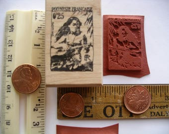 Polynesie Francaise  post postage stamp  Rubber stamp un-mounted or mounted scrapbooking rubber stamping journal
