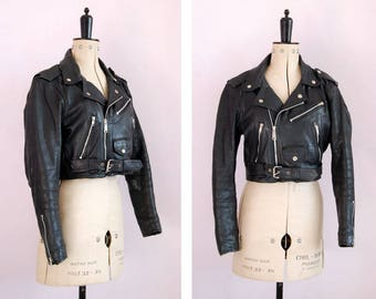 Vintage 1980s 90s cropped black leather biker jacket - Womens leather jacket - Biker jacket - Perfecto - Brando - Motorcycle jacket - Small