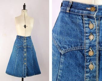 Vintage 1970s Denim jean button down flared A line skirt - Gentle Folk - 70s high waist denim skirt - 70s Denim skirt - 70s Jean skirt boho