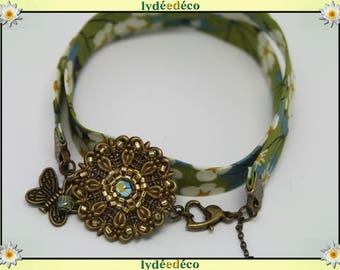Bracelet Pastel print liberty white green yellow flower glass beads and brass