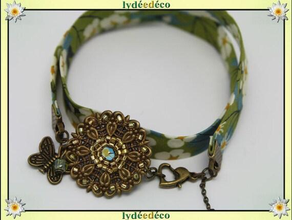Retro bracelet Pastel print White Pearl Lime yellow green liberty Flower Butterfly bronze Japanese glass