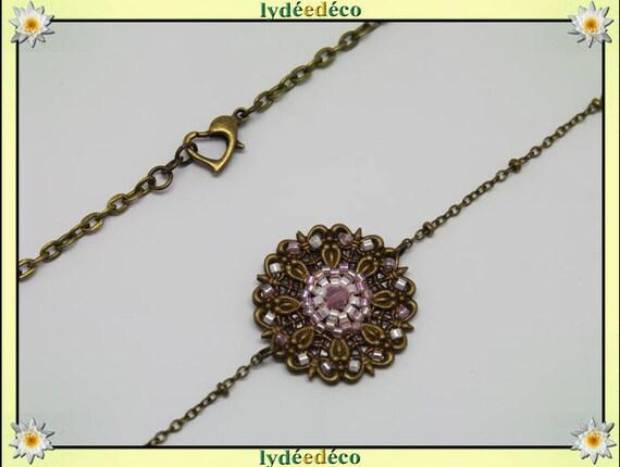 Vintage flower headband print and white pastel pink tones glass beads bronze