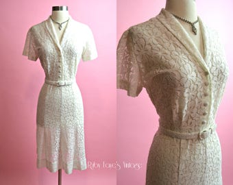 "NELLY DON 1950's Vintage White Cotton Sheer Lace Dress Summer Dress Sundress 31"" Waist Medium Large"
