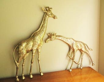 Vintage Brass Giraffes, Giraffe Wall Hanging, Wall Mounted Giraffes, Brass African Animals, Pair, Enesco, Large