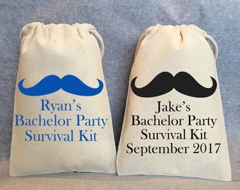 "6- Personalized Bachelor party favor bags, bachelor party, bachelor survival kit, Hangover kit, 4""x6"""
