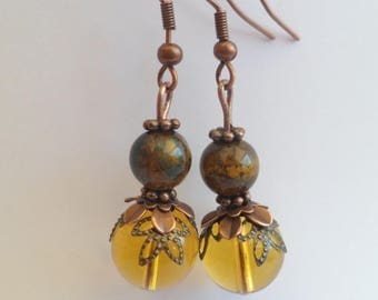 Yellow lantern and Tiger eye earrings