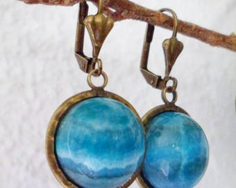 Earrings with agate crazy lace blue