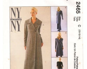 McCall's Sewing Pattern 2465 c.1999 NY Coatdress Pants 10-12-14 Uncut / Unused