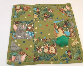 Mini Quilt, Trivet, Pot Holder, Mug Rug, Jungle Animals, Lions, Monkeys
