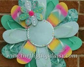 CUTE Mint Green Glitter Flip Flop Wreath Can be Personalized! Coastal Door Decor Beach Ocean Unique