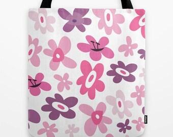 Flowers Tote Bag, Pink Flowers Tote, Purple Flowers Tote Bag, Girls Tote, Tween Tote, Carry All Bag, Travel Tote, Library Tote, Book Bag,