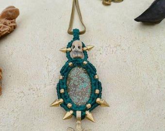 Tribal Steampunk Turquoise macrame pendant handmade by Bella Marietta