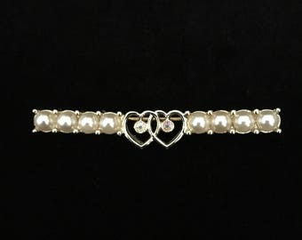 "Vintage ""Waltz Time"" A Double Heart w/Faux Pearl Brooch by Sarah Coventry (Tier 1)"