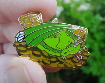 Baby Dragon Enamel Lapel Pin Badge - Green