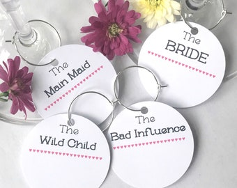 10 x Hen party nicknames name cards for your cocktail or champagne glass- Hen Party