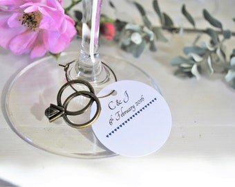 10 Hen Party Accessories- Champagne/ Wine Name Place Cards with Silver Ring Charms
