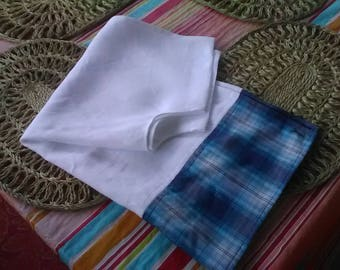 Snowy White with Blue Plaid Linen and Cotton Caftan Tunic