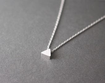 Silver Triangle Necklace // Tiny triangle necklace // Geometric jewelry