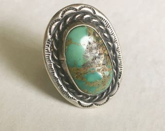 vintage turquoise and sterling southwestern ring, size7