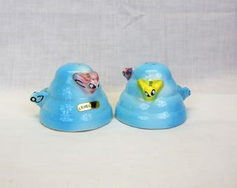 Menschik Goldman beehive salt and pepper Shakers blue ceramic vintage 1950s