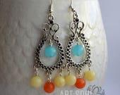Jade Colourful Earrings // Gift Idea // Dangle Earrings // Jade Earrings