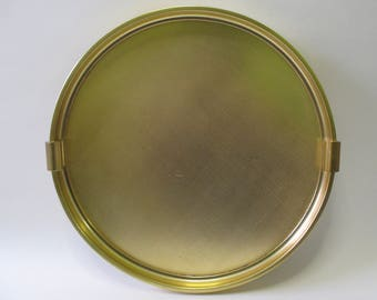 Vintage Round Gold-colored Foltroy Quickfor Ltd Serving Tray