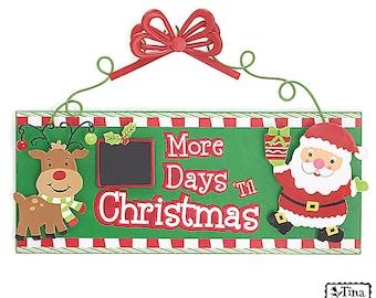Christmas Signs Countdown Christmas Sign Days til Christmas Sign Christmas Chalkboard Sign Christmas Wreath Sign Wreath Supplies Santa Sign