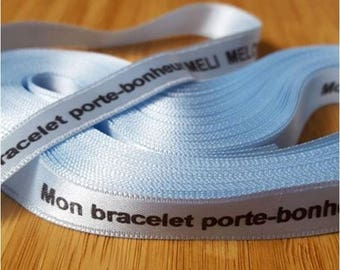 Lot 10 meters of custom personalized 10 mm printed Blue Ribbon