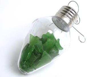 Rhode Island Soda Bottle Green Sea Glass Filled Clear Plastic Vintage Light Bulb Christmas Ornament with a Decorative Swirl Hook