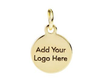Custom Jewelry Tag, Custom Metal Tag with Logo Laser Engraved on Round Disc Tags Sequins, 14K Gold Plated,6~12mm,Sample Service, F0LC.GO01.C