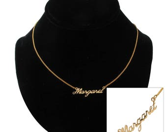 "Script Name Margaret Charm Pendant Gold Tone Necklace 16"" Vintage 70s"