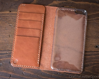 "iPhone 6+ (5.5"") cell phone wallet case - chestnut harness leather"