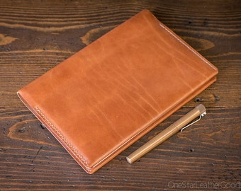 Clairefontaine Classic Hardcover (A5) notebook and cover (fountain pen friendly paper) - chestnut harness leather