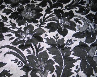 "Antique Lace Shawl / Antique Mantilla / Vintage French Chantilly Net Lace Shawl Cape Scarf circa 1900s Victorian Black 106"""