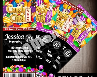 Candy Crush Movie Ticket Style Invitations, Birthday Party, DIY Fillable PDF