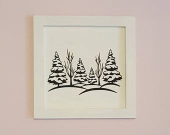 "The white wooden frame ""snowy trees"" 25x25cm"