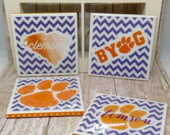 Clemson Drink Coasters, Drink Coasters, Table Coasters, Gifts for Him, Gifts for Her, Clemson Coasters, Clemson Tigers