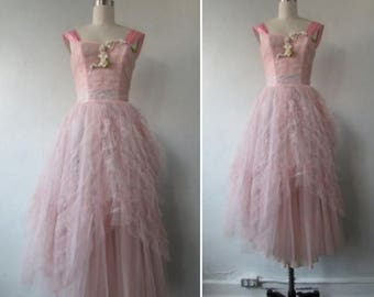 30% Off Flash Sale 1950s dress | vintage tulle dress | vintage 50s tulle dress | cup cake dress  | prom party dress | extra small | The Age