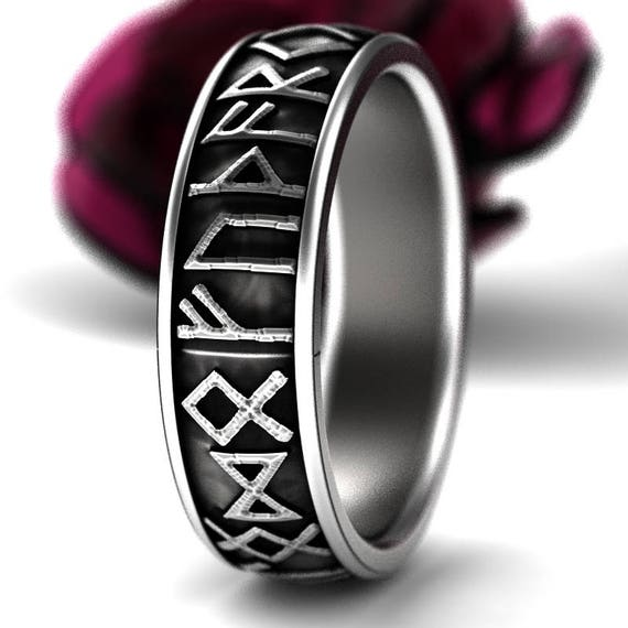 Sterling Silver Nordic Rune Ring, Rune Wedding Band, Magical Jewelry, Rune Jewlery, Norse Ring, Viking Rune Ring, Jewelry Custom Size 5101