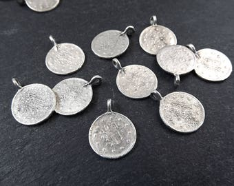 10 Round Coin Charms - Matte Antique Silver Plated