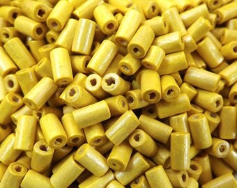 Sunny Yellow Wood Tube Beads Satin Varnished Plain Simple Round Smooth Ball Wooden Bead Spacers 8mm Choose 50pcs, 200pcs or 400pcs