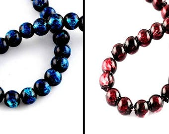 25 black and Burgundy or blue glass beads, 8mm